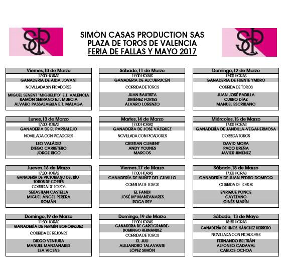 Fallas 2017 Valencia Bullfighting Festival Schedule